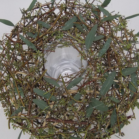 Stacked twig and eucalyptus wreath