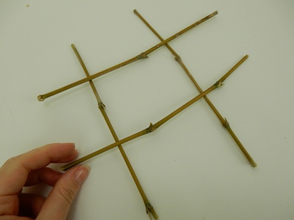 Cross 4 sections of bamboo.