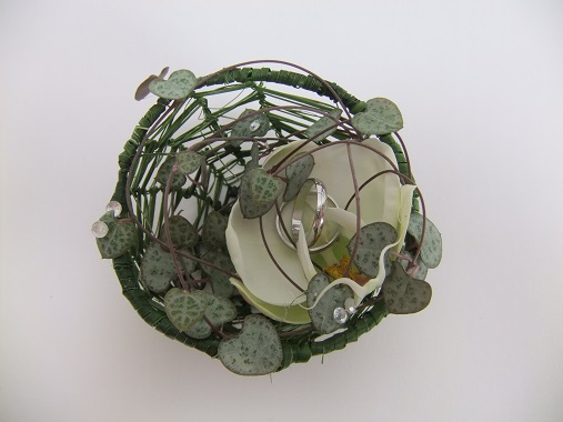 Woven orchid and vine ring basket