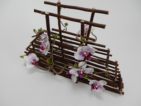Phalaenopsis orchids, Hazel and strawberry twig Bridal Basket