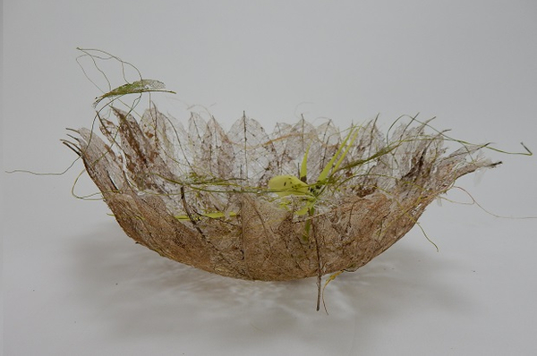 Skeletonize autumn leaves to shape into a floral bowl