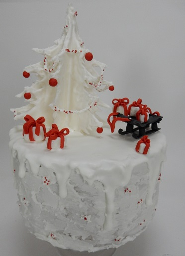 White red and black Christmas Cake