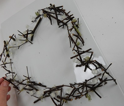 Stacked Table-Top Twig Heart