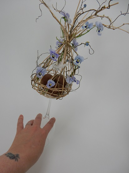 For my display I set the basket on an upturned wine glass