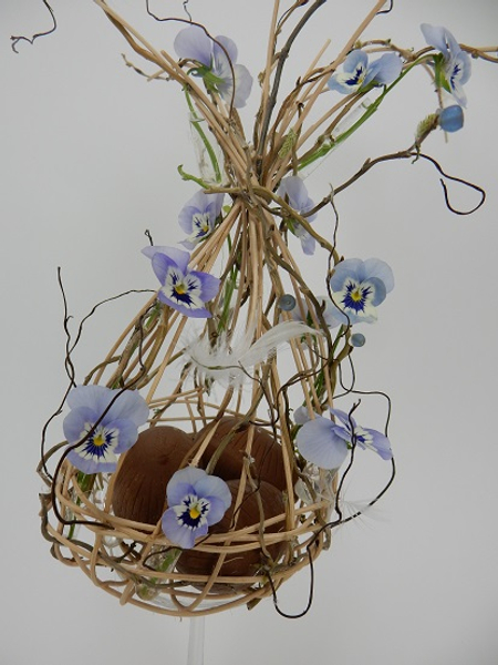 Viola, willow and cane Easter basket.