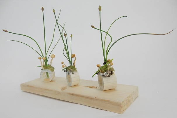 Wooden floral containers.