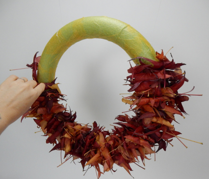 Rolled up Autumn leaf wreath