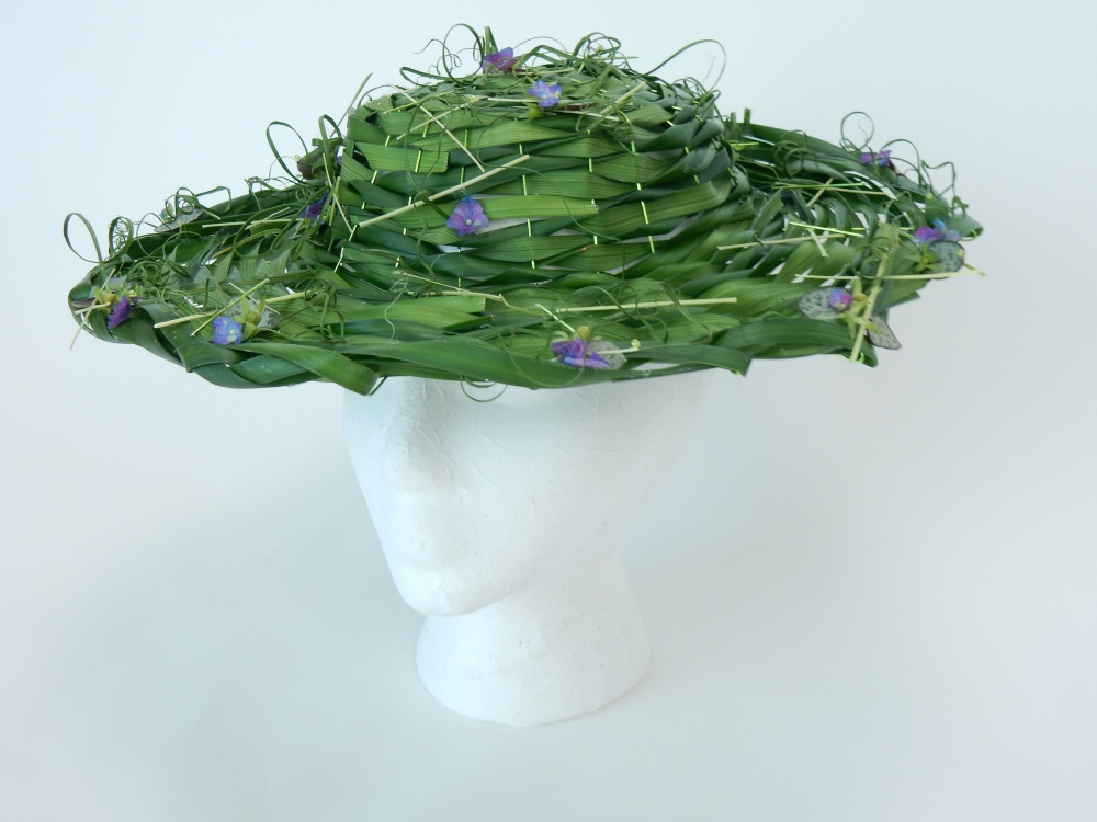 Lily grass and hydrangea hat