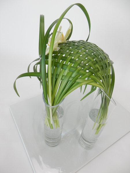 Phalaenopsis orchids on a woven lily grass structure in two glass vases