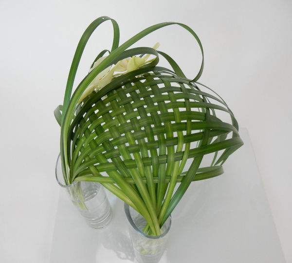 Woven lily grass parachute shaped armature for orchids