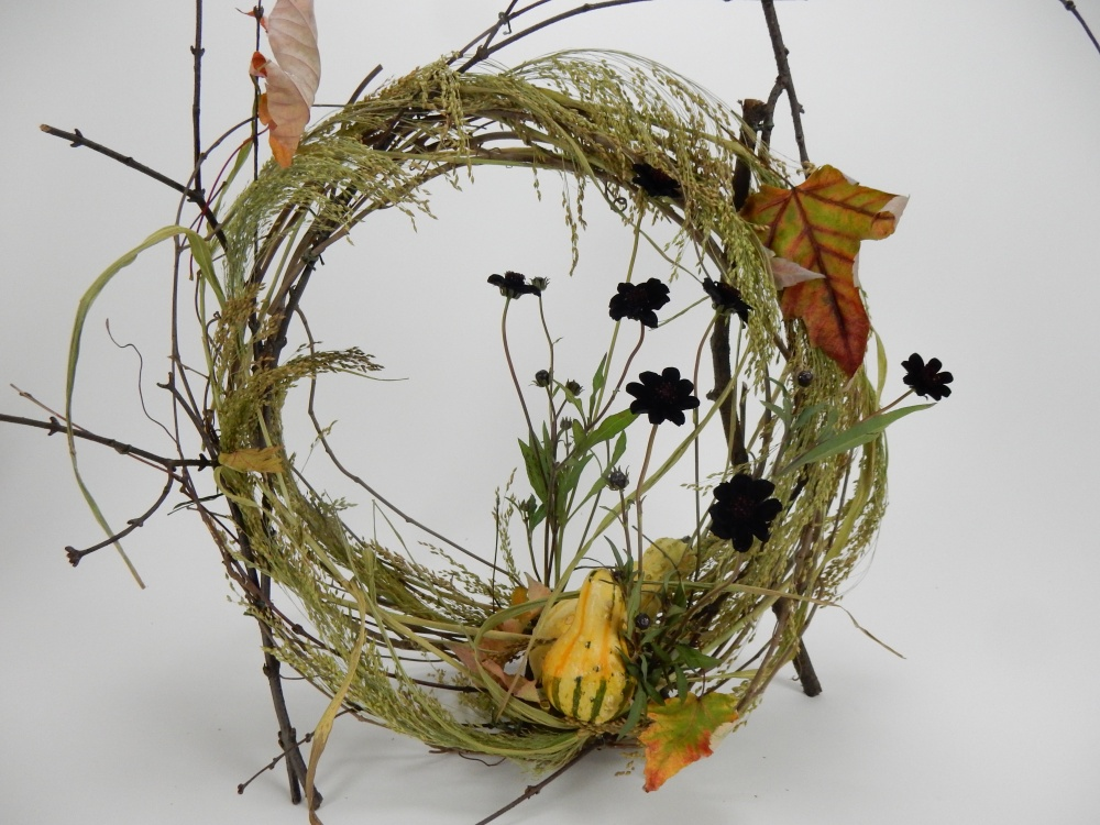 Loosened wreath and grass armature.