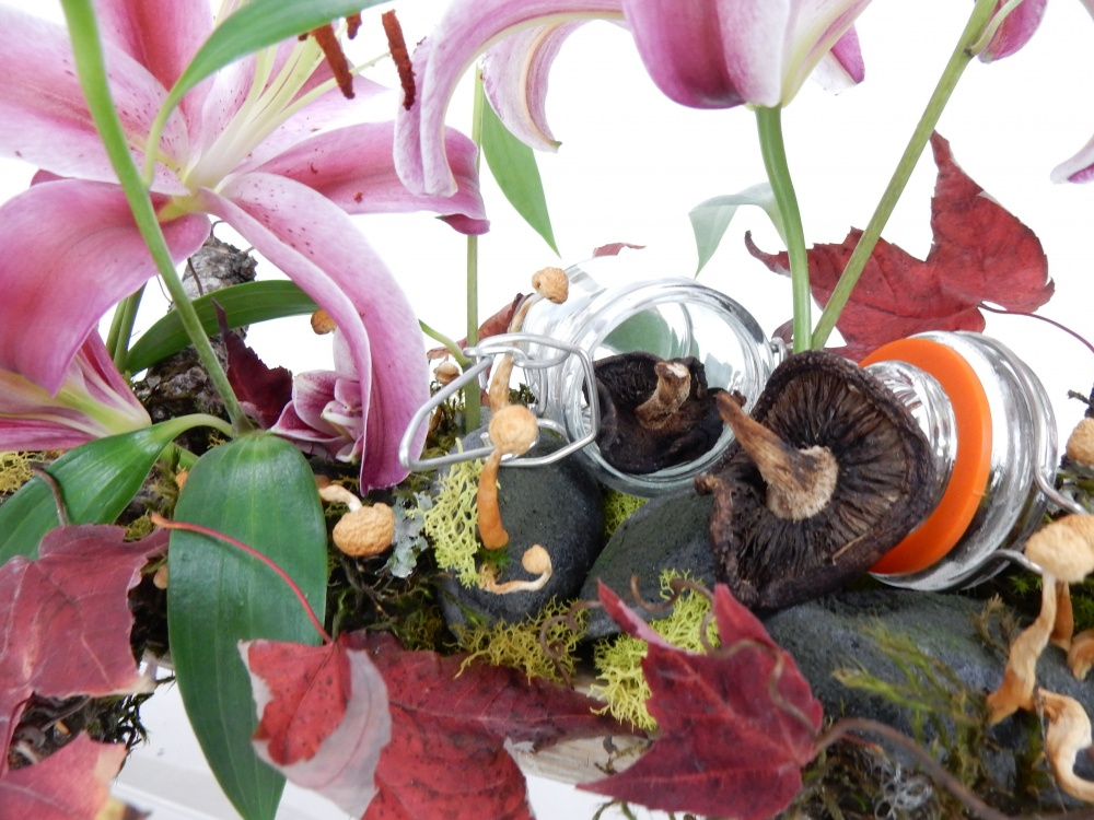 Mushroom and moss with autumn leaves and lilies