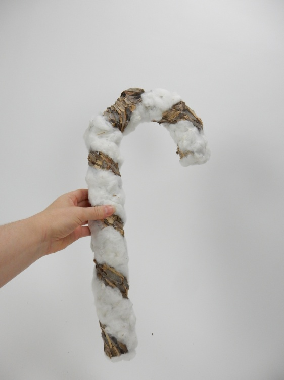 Cotton and bark candy cane