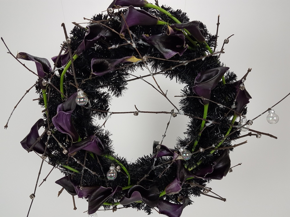 Black Arum Lily wreath design
