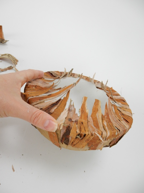 Glue in a second layer of bark