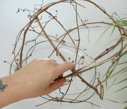 Wrap lily grass around bits of vine