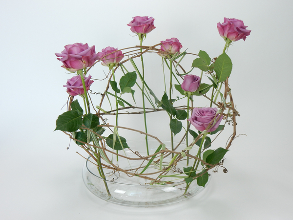 Roses in a grapevine armature