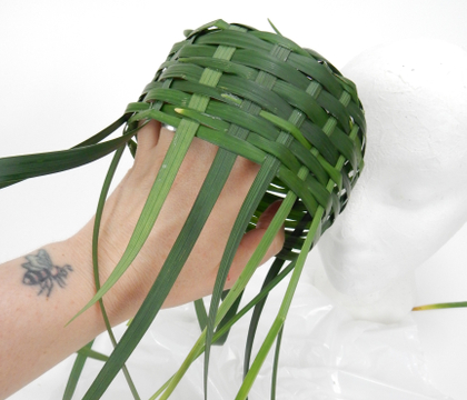 Weaving a Pillbox hat from grass