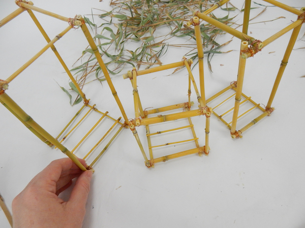 Glue or wire bamboo lengths to create the base for the lantern