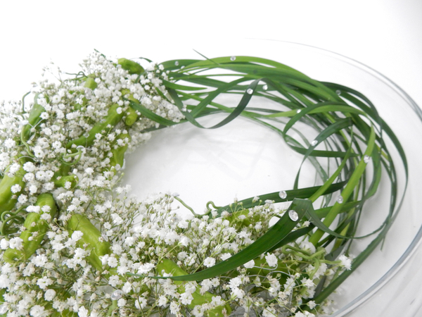 Gypsophila, Shishito peppers and lily grass.