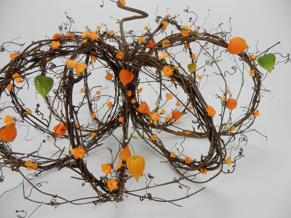 Kalanchoe and Physalis on a tendril wreath pumpkin