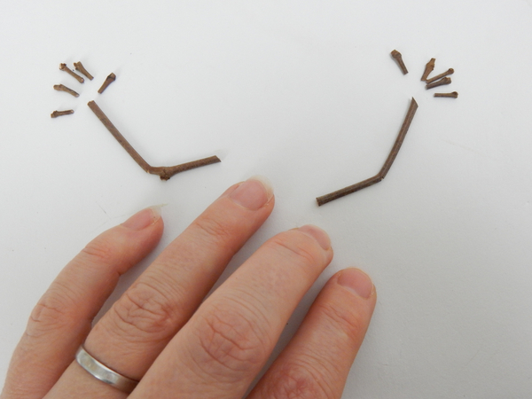 Cut thin twigs for arms and fingers