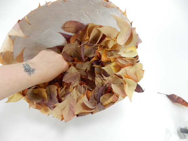 Glue the leaves tightly so that no paper will show when it shrinks as it dries