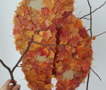 Three tier dried autumn leaf armature