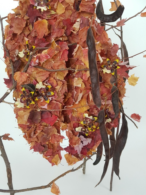 Oncidium orchid and Autumn leaf design