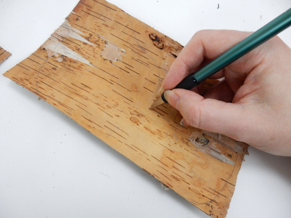 Draw your sleigh out on a sheet of bark