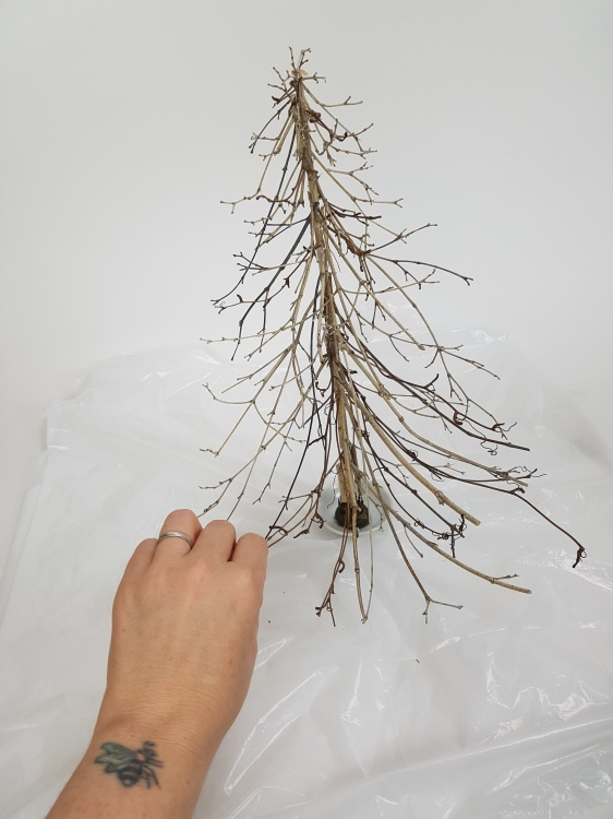 Turn the tree around and use the twigs as a guide to add twig snippets to the other side