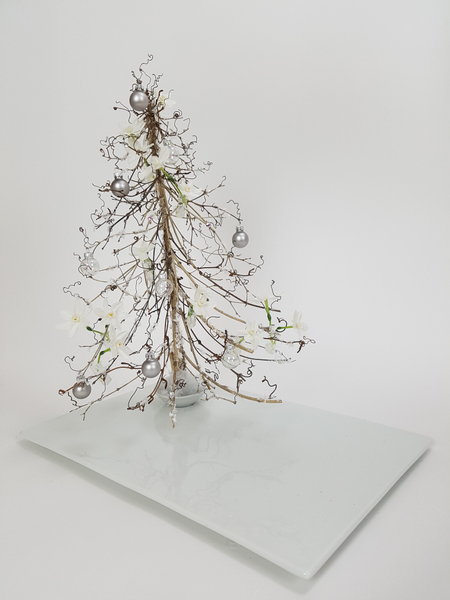 Winter white twig Christmas tree