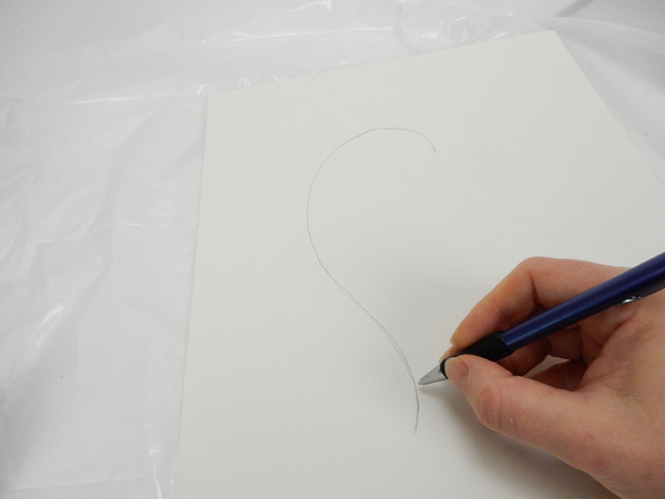 Draw one half of a curvy heart on paper.