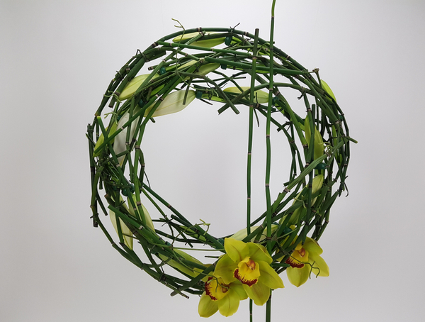 Lily and equisetum wreath