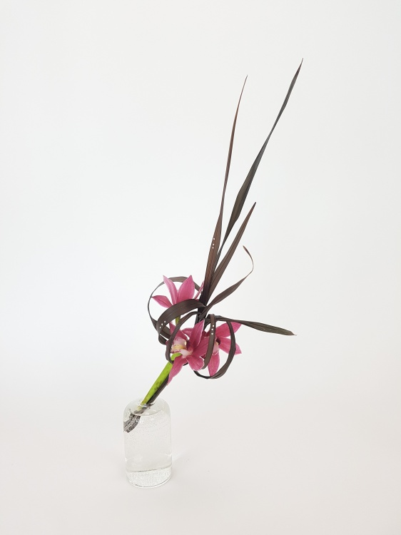 Cymbidium and Phormium floral art design