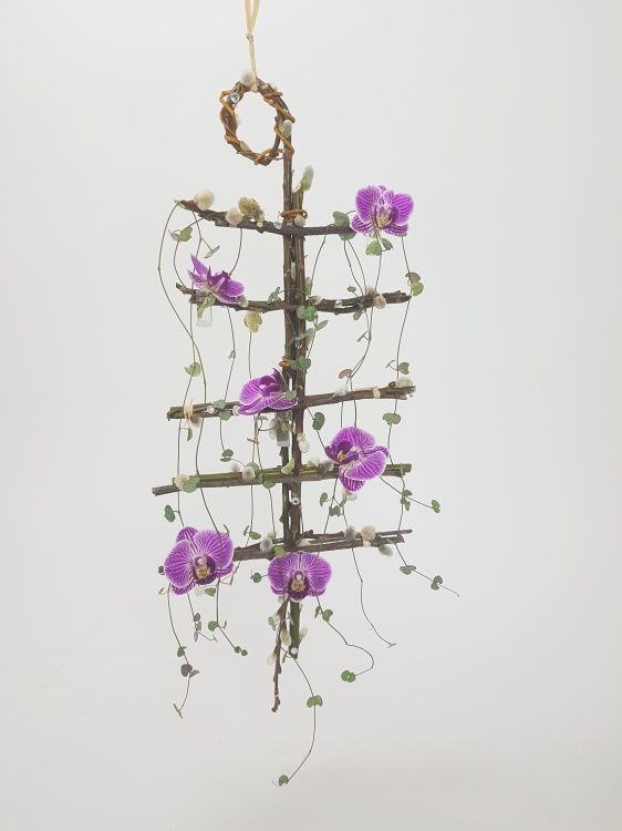 Phalaenopsis, rosary vine and pussy willow floral mobile