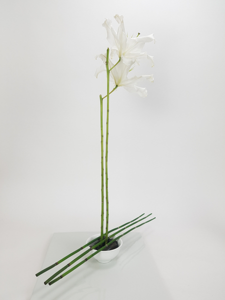 Two tall lilies stems in a floral design