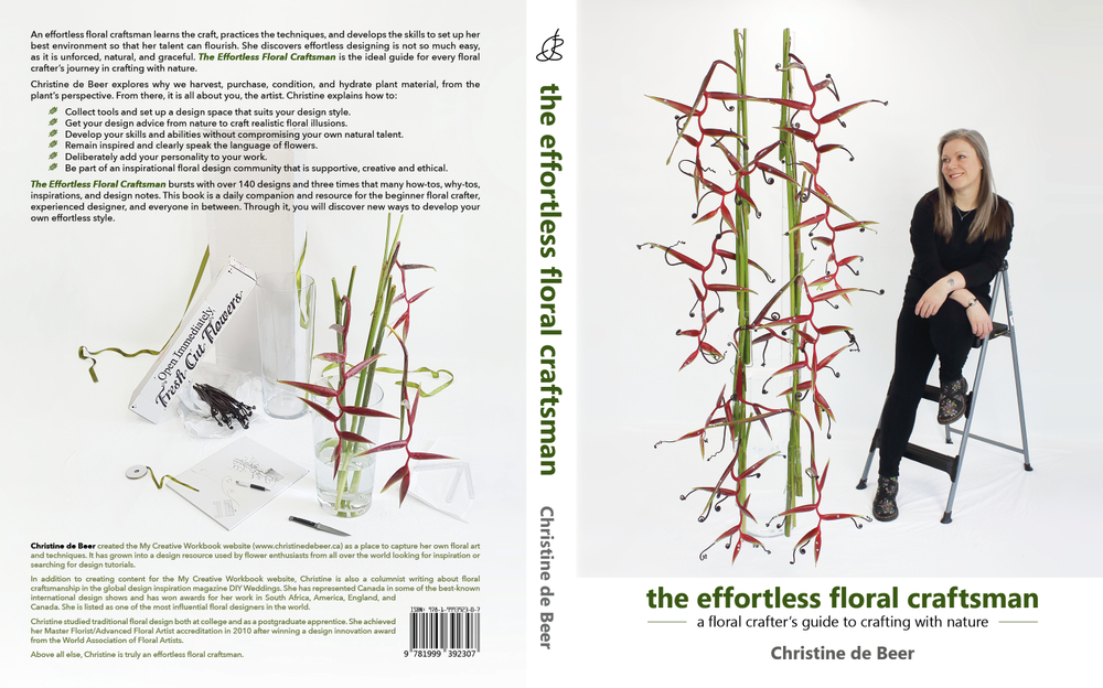 Cover design for the effortless floral craftsman book by Christine de Beer