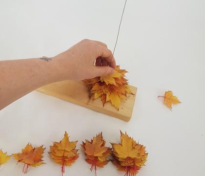 Autumn leaf Christmas tree stack