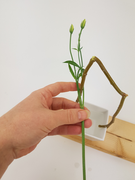 Slip the Lisianthus buds through the twig