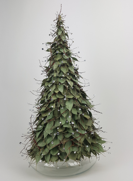 Eucalyptus leaf and crystal Christmas tree flower arrangement