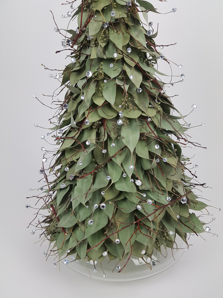 Eucalyptus leaf and crystal Christmas tree