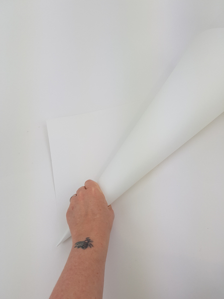 Roll a large sheet of thin cardboard into a sharp cone shape