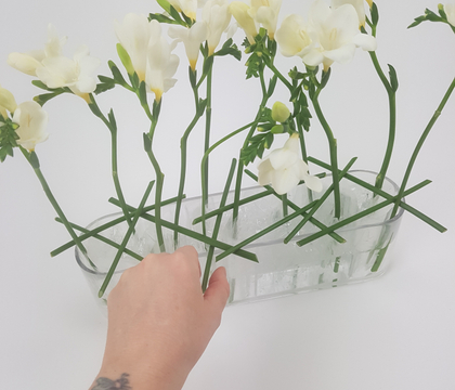 Zig-Zag fold plastic for a flower stem support