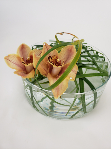 Cymbidium and lily grass floral design
