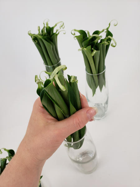 For my design I place the leaves in bud vases