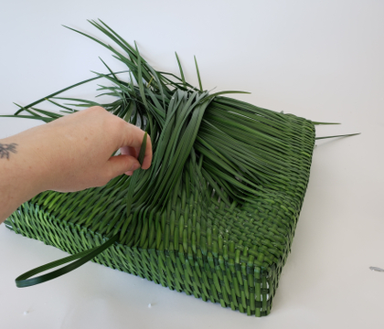 Taking a break when weaving with grass