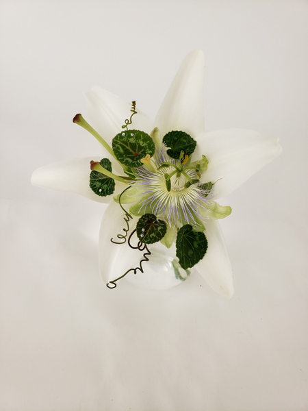 Lily and passion fruit flowers