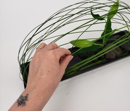 Loop-over grass veil for a cool summer design