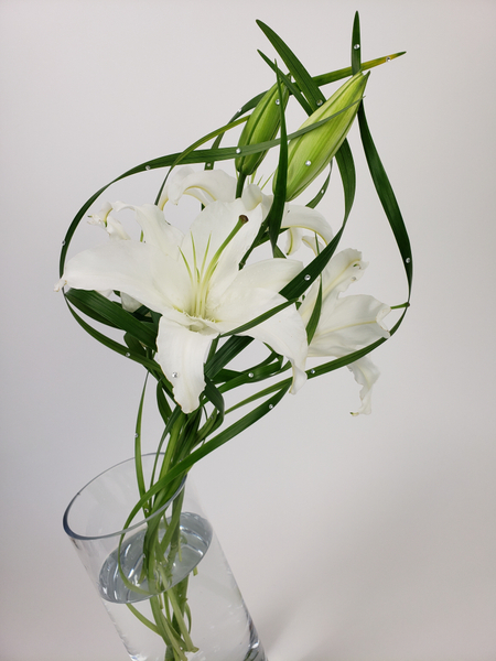Floral design with a single lily stem
